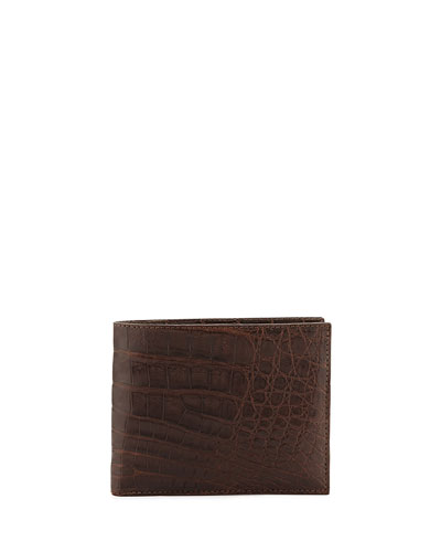 Crocodile Bi-Fold Wallet, Brown