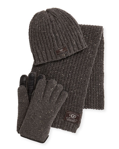 Men's Beanie, Scarf, and Glove Box Set, Gray
