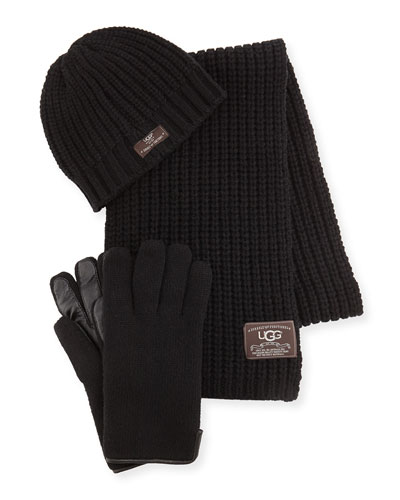 Men's Beanie, Scarf, and Glove Box Set, Black