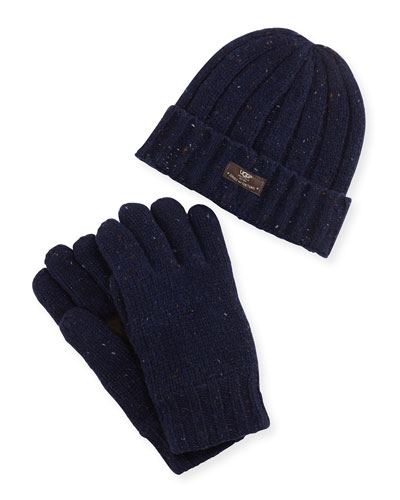 Men's Hat and Glove Box Set, Blue