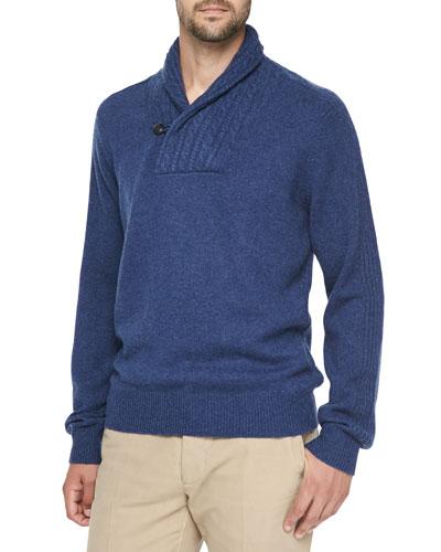 Neiman Marcus Cashmere Shawl-Collar Pullover Sweater, Dark Blue