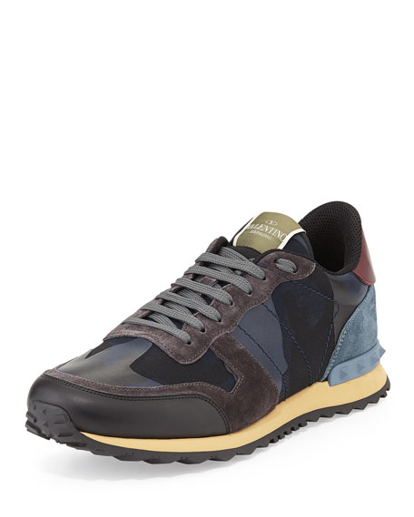 valentino men 39 s rockrunner camo print sneaker blue. Black Bedroom Furniture Sets. Home Design Ideas