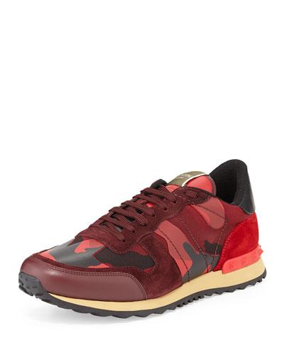 Valentino Men's Rockrunner Camo-Print Sneaker, Red