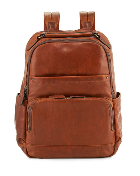 Frye Logan Men's Pull-Up Leather Backpack, Cognac
