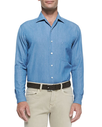 Loro Piana Andre Denim Button-Down Shirt