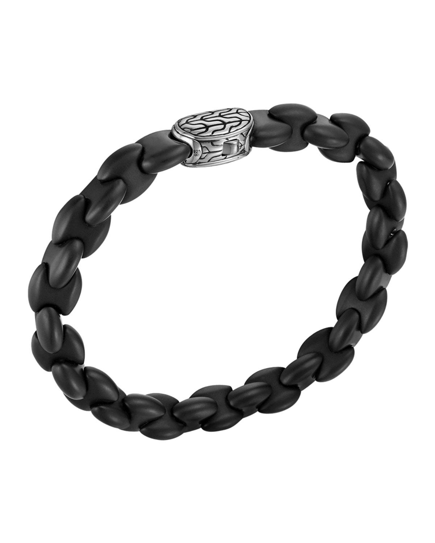 Men S Batu Clic Chain Silver And Black Agate Bracelet