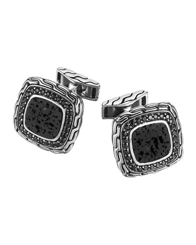 Batu Classic Chain Volcanic and Black Sapphire Cuff Links