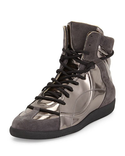 Wrestling Metallic High-Top Sneaker, Dark Gray
