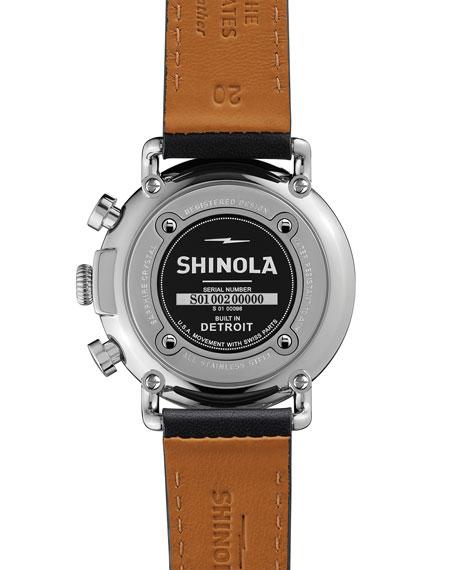 41mm Runwell Chrono Watch, Black/White