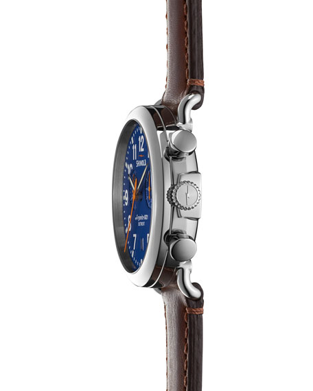 Men's 41mm Runwell Chrono Watch, Dark Brown/Blue