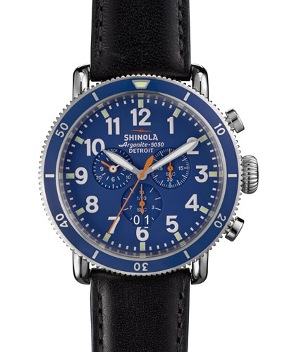 Shinola 47mm Runwell Sport Chronograph Watch, Blue/Back
