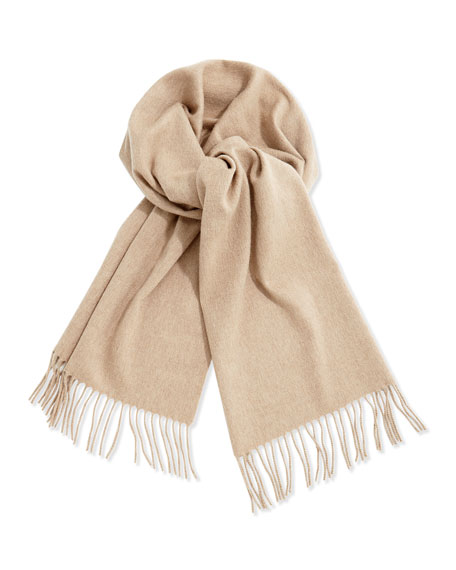 Men's Cashmere Solid Fringe Scarf, Natural