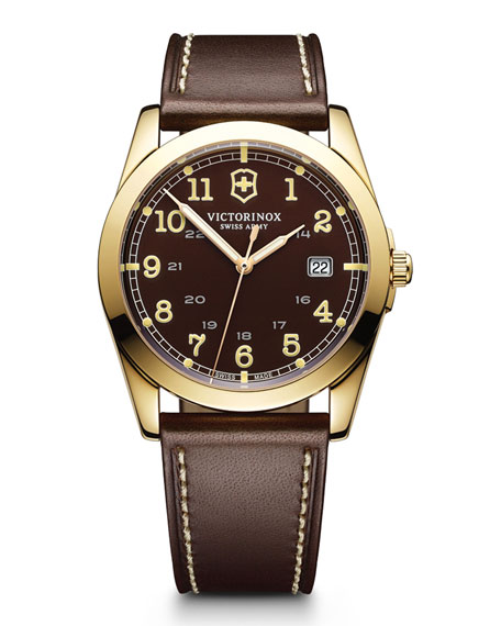 Infantry Large PVD 3N Watch with Brown Leather Strap