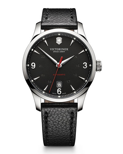 Alliance Mechanical Watch with Leather Strap, Black