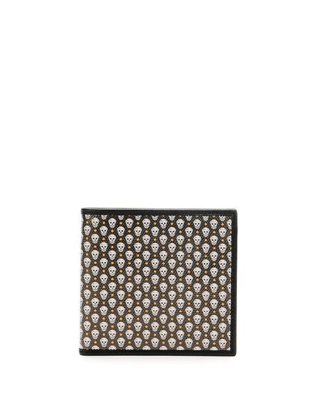 Alexander McQueen Coated Skull Wallet, Green/White