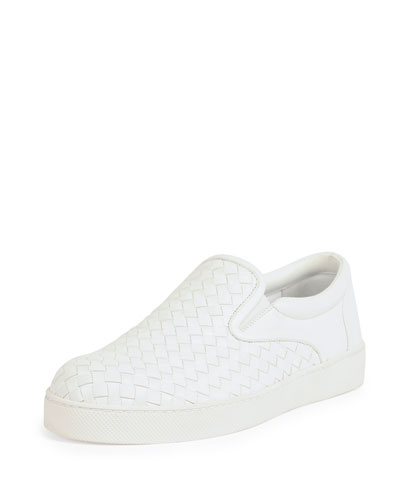 Woven Leather Skate Shoe, White
