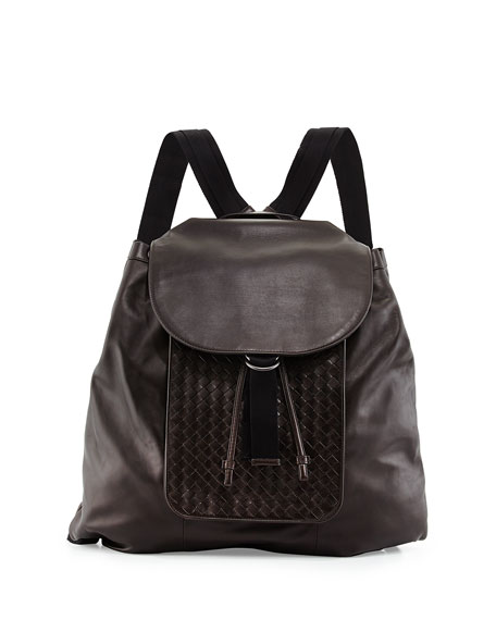 Bottega Veneta Woven Leather Backpack, Brown