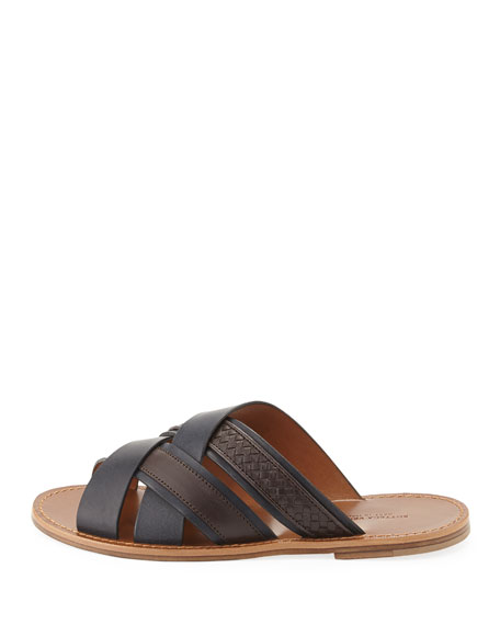 Woven Leather Crisscross Sandal, Navy/Brown