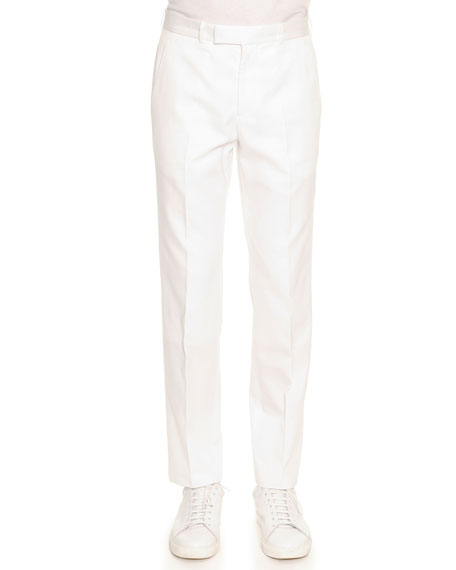 Alexander McQueen Slim Cotton Trousers, White