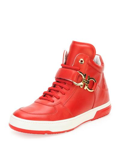Salvatore Ferragamo Nayon Gancini High-Top Sneaker, Red