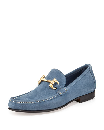 Salvatore Ferragamo Suede Gancini Loafer, Light Blue