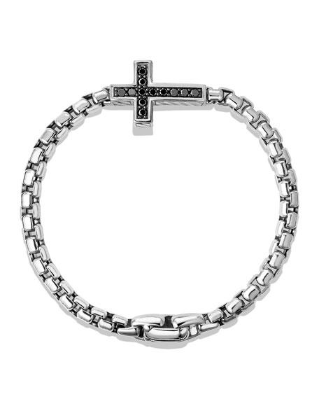 Pavé Cross Bracelet with Black Diamonds