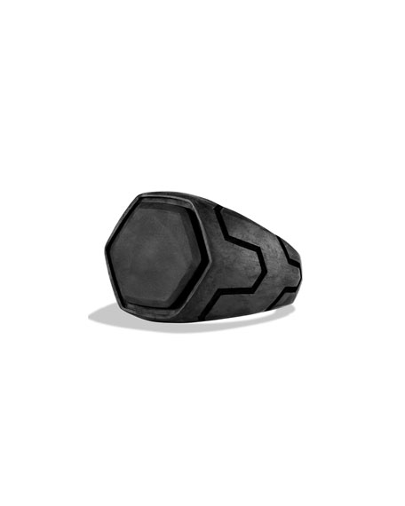 Forged Carbon Signet Ring, Size 10