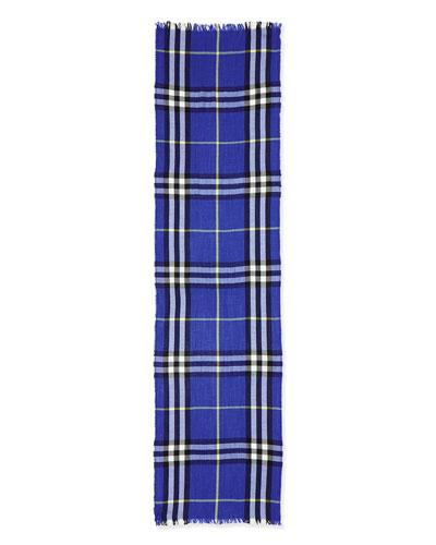 Cashmere-Wool Blend Crinkle Scarf, Marine Blue