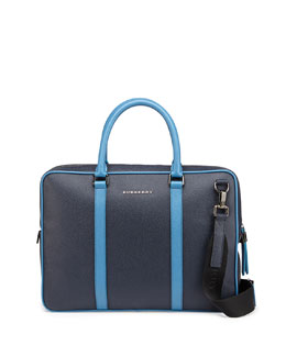Two-Tone Leather Computer Case, Light Blue