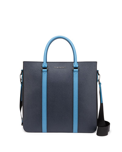 Pebbled Leather Tote Bag, Navy/Light Blue
