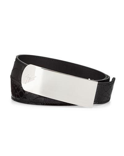 Giuseppe Zanotti Men's Crocodile-Stamped Plaque Belt, Black