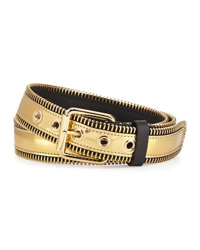 Giuseppe Zanotti Men's Metallic Zipper-Trim Belt