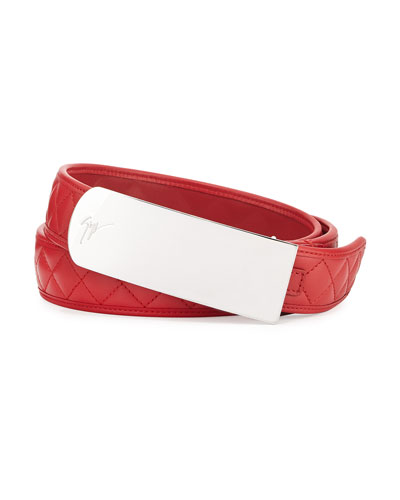 Giuseppe Zanotti Men's Quilted Leather Plaque Belt, Red