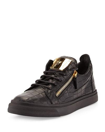 Giuseppe Zanotti Men's Croc-Embossed Low-Top Sneaker, Black