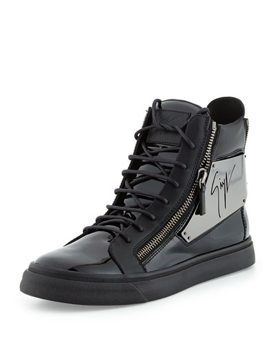 Giuseppe Zanotti Men's Patent Logo-Plate High-Top Sneaker, Black