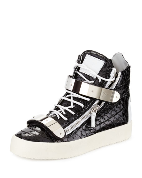 Giuseppe Zanotti Patent Croc-Embossed High-Top Sneaker, Black