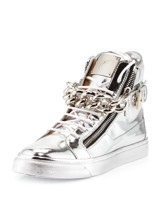 46fd43ecddc8 Giuseppe Zanotti Men s Metallic Chain   Zipper High-Top Sneaker ...