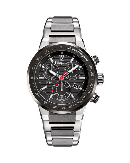 Salvatore Ferragamo F-80 Chronograph Watch with Bracelet