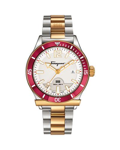 1898 Bracelet Watch, Steel/Golden/Red