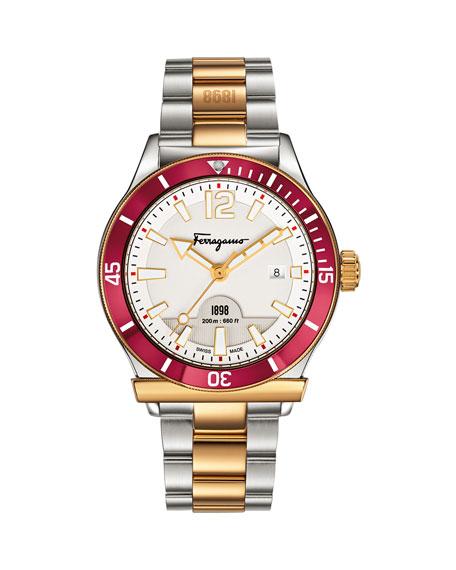 Salvatore Ferragamo 1898 Bracelet Watch, Steel/Golden/Red