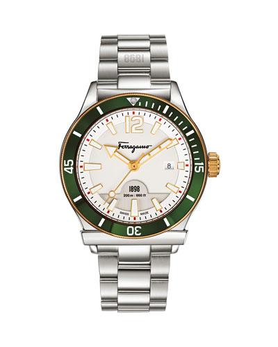 1898 Green-Bezel Bracelet Watch