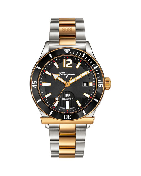 1898 Gold IP Bracelet Watch with Black Dial