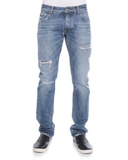 Destroyed Washed Denim Jeans, Light Blue