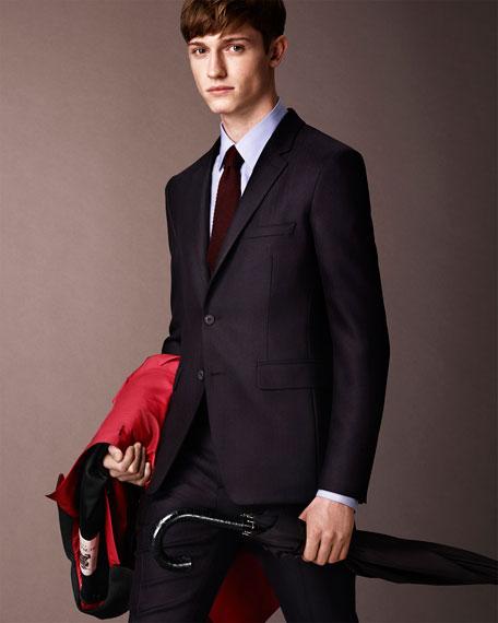 Modern-Fit Wool Suit, Navy