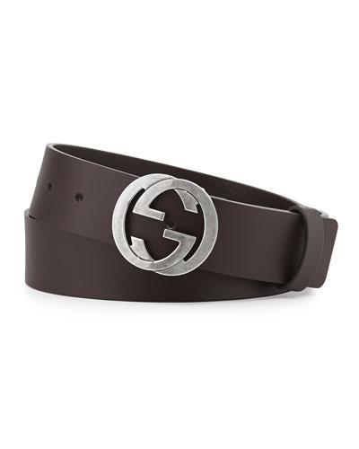 Leather Belt with Interlocking G Buckle, Brown
