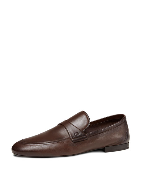 Gucci Unlined Leather Loafer, Dark Brown