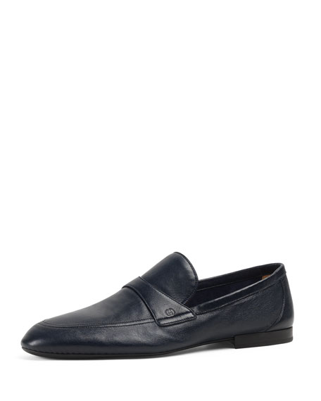 Gucci Unlined Leather Loafer, Navy