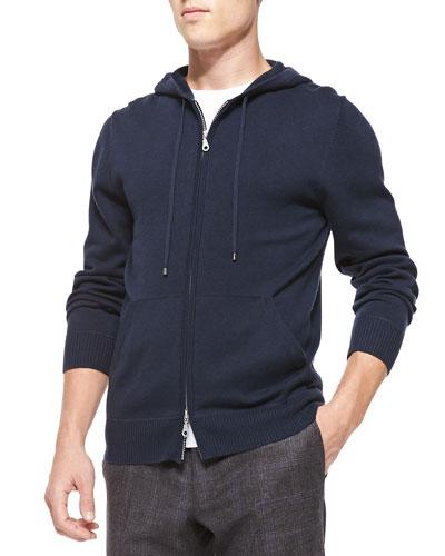 Cashmere/Cotton Zip Hoodie, Navy