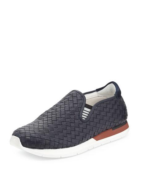 Bottega Veneta Woven Slip-On Sneaker, Navy