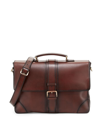 Burnished Calf Leather Briefcase, Brown